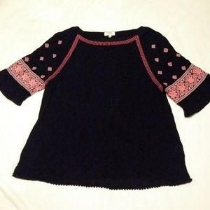 Crown and Ivy Navy and Pink Blouse